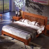 粤顺红木床花梨木实木床新中式双人床婚床头柜3件套X20