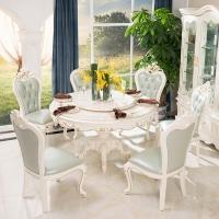 中伟ZHONGWEI欧式餐桌 豪华餐桌 实木圆餐桌椅组合餐桌组合餐桌+椅子*6