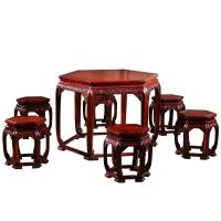 粤顺实木canzhuo红檀木餐桌椅组合饭桌HT01