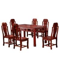 粤顺红檀木餐桌实木餐桌椅组合中式古典长方形型饭桌HT04