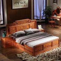 粤顺 红木床 缅花实木双人床 1.8米国色天香大床 MC01