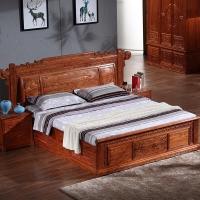 粤顺红木大床  实木中式床  花梨木大床三件套H401