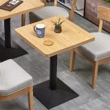 中伟简约餐桌休闲吧快餐奶茶店餐桌书吧咖啡馆图书室座椅餐厅餐饮桌椅组合方形桌含椅子600*600*750
