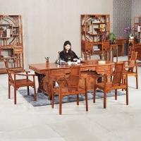 粤顺红木茶桌 中式实木茶几 花梨木虎脚茶桌椅组合 YS1003