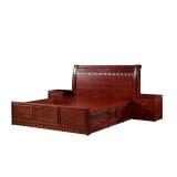 粤顺1.8米大床中式古典红檀木卧室家具硬木床实木家具HT07