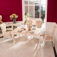 中伟ZHONGWEI欧式餐桌 豪华餐桌 天然大理石实木长方形餐桌椅组合餐桌+有扶手椅子*6