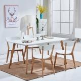 百思宜 北欧现代简约饭桌餐桌长方形桌子洽谈桌 白色 烤漆桌面140cm*80cm(不含椅子)