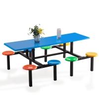 中伟 ZHONGWEI 学校员工食堂餐桌椅4人6人8人餐桌连体快餐桌椅组合 8人位玻璃钢