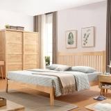中伟实木床北欧床双人床成人单人床公寓床简约卧室床原木色1.8米*2米
