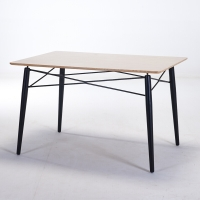 百思宜 小户型餐桌简约洽谈桌 铁艺餐桌 设计师家具 铁艺方桌黑色120*80