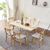 A家家具 餐桌 北欧餐桌日式家具长方形小户型饭桌 实木餐桌餐厅家具  一桌六椅  BA008-6
