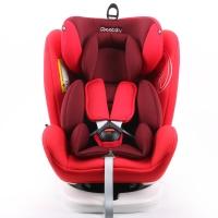瑞贝乐reebaby360度旋转汽车儿童安全座椅ISOFIX接口 0-4-6-12岁婴儿宝宝新生儿可躺安全座椅 波多尔红