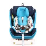 瑞贝乐reebaby汽车儿童安全座椅ISOFIX接口 0-4-6-12岁婴儿宝宝新生儿可躺安全座椅 卡通贝克熊 蓝色