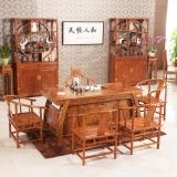粤顺红木茶桌  花梨木茶桌椅组合 山水茶桌六件套H002