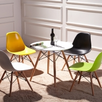 百思宜 现代简约咖啡厅洽谈桌椅 餐桌奶茶店桌椅伊姆斯桌椅组合  80cm白色圆桌/4椅(颜色请备注)