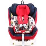 瑞贝乐reebaby汽车儿童安全座椅ISOFIX接口 0-4-6-12岁婴儿宝宝新生儿可躺安全座椅 卡通贝克熊 红色