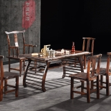 粤顺 茶桌 碳烧木功夫茶桌 实木茶桌椅组合 191