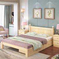 中伟实木双人床现代简约经济型木床租房床架单人2000*1800*40床带双抽