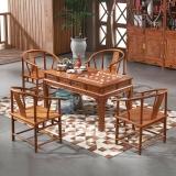 粤顺红木茶桌 实木功夫茶桌椅组合 花梨木茶几桌 中式泡茶桌1桌4太师椅 H011