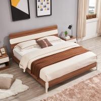 A家家具 床 现代简约板式床实木架子双人床卧室家具 1.8米床 梨木色 床+床垫  A1001-180