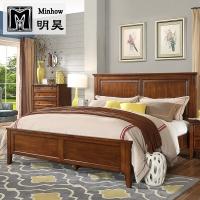 明昊(Minhow)床 美式床 实木床 单人双人床婚床大床 美式实木双人床 卧室家具1.8米床 606-61-35-G1