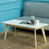 爱必居(ABIT)实木茶几 北欧现代简约客厅大茶桌咖啡桌 白色长方边几