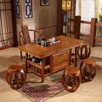 中伟实木茶桌实木茶台功夫茶桌中式茶几桌椅组合1480*780*720