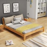 中伟实木床北欧床双人床成人床单人床公寓床卧室床1.5米*2米橡木家具原木色