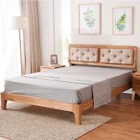 家逸实木床北欧简约双人床1.8米婚床白橡木原木色