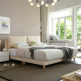 A家家具 床 布艺床 北欧卧室1.8米双人床 现代简约可拆洗软靠床 米黄色1.8米床+床垫*1+床头柜*2 DA0120-180