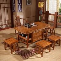 中伟实木茶桌椅组合实木茶台中式茶几桌功夫茶桌1480*780*720