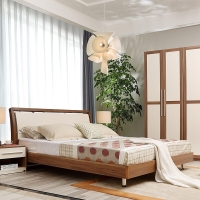 A家家具 床 现代简约板式床 实木床 1.8米双人床 A002-180