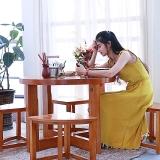 粤顺 实木功夫茶桌椅组合自动上水阳台茶几桌多功能休闲圆桌椅288