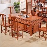 奈高榆木功夫茶桌家用中式实木茶桌椅组合宰相茶桌仿古GR-2一桌五椅1800*900*780
