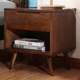 中伟实木床头柜简约实木脚柜子储物柜斗柜文件柜胡桃色单斗