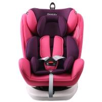 瑞贝乐reebaby360度旋转汽车儿童安全座椅ISOFIX接口 0-4-6-12岁婴儿宝宝新生儿可躺安全座椅 珊瑚粉
