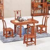 粤顺红木茶桌 花梨木茶桌椅组合 实木小卷书茶桌五件套H006