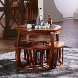 粤顺红木茶桌 花梨木茶桌椅组合实木圆茶桌五件套H004