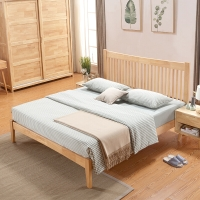 中伟实木床北欧床双人床成人单人床公寓床简约卧室床原木色1.5米*2米