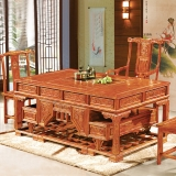 奈高榆木功夫茶桌家用中式实木茶桌椅组合弯角办公泡茶台仿古GR-1一桌五椅1800*900*780