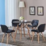 百思宜 餐桌椅现代简约洽谈圆桌椅组合 北欧休闲接待会客商务桌椅套装 70cm黑色圆桌(一桌3椅)