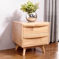 中伟北欧全实木床头柜迷你小床边柜卧室简约整装收纳柜带抽屉储物柜子原木色