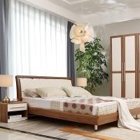 A家家具 床 实木床 现代简约卧室双人床 1.5米架子床 床+床垫*1 A002-150