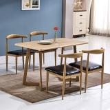 百思宜 现代简约餐桌椅组合长方形小户型饭桌金属仿木纹桌椅套装 原木色120*70cm(一桌4椅)