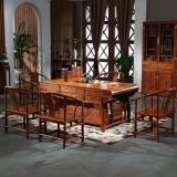 粤顺红木茶桌  花梨木茶桌椅组合 富贵茶桌六件套YS1002