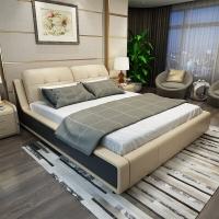 A家家具 床 现代简约卧室家具真皮床 1.8米北欧主卧婚床 欧式头层牛皮床 1.8米床*1+床头柜*1+床垫*1 DA0188