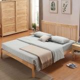 奈高北欧实木时尚双人床家用储物日式简约卧室单人公寓床1.8米*2米-原木色AA65