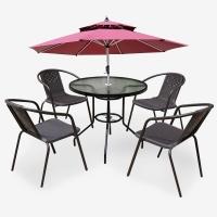 好事达易美定制藤织桌椅 户外阳台五件套室外休闲庭院茶几组合(带伞) 147