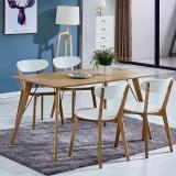 百思宜 北欧现代简约饭桌餐桌长方形桌子洽谈桌 原木色 贴皮桌面140cm*80cm(不含椅子)