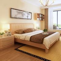 A家家具 床 实木床 简约枫木卧室板木双人床婚床 1.5米框架床+床垫*1+床头柜*2 Y3A0102-150